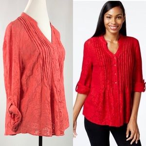 Style and Co. Pintucked Button-Front Lace Blouse